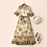 春夏新款欧美女装喇叭袖工重刺绣网纱优雅气质连衣裙子LGH17801 喇叭袖工重刺绣网纱裙