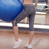 夏季薄款速干运动健身中裤弹力紧身七分裤女夏