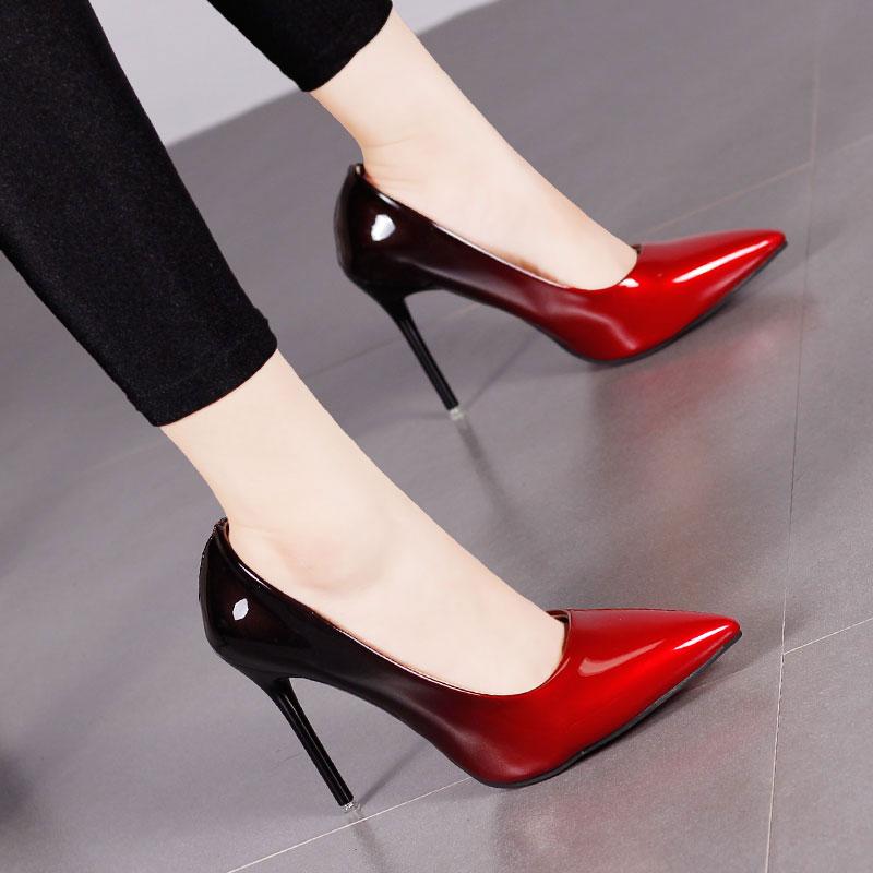 20190818140623462渐变色尖头高跟鞋细跟性感秋冬季新款女工作鞋子拼色浅口单鞋10CM