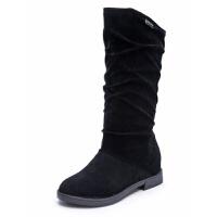 中筒靴女靴秋冬季新款中跟内增高平底韩版长靴套筒学生靴女鞋子潮