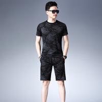 verhouse 男士运动套装夏季新款男中年休闲两件套印花短袖T恤+短裤套裤潮