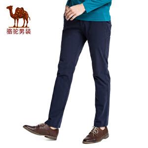 【领卷满299减200,限10月18日】骆驼男装 新款青年中腰商务休闲长裤子修身纯色休闲裤男