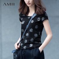 【五折再叠20元优惠券】Amii[极简主义]夏新休闲短袖波点印花大码多色T恤女11641013