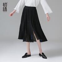 初语夏季新款 松紧腰褶皱撞色滚边花伞型半身裙中长款半裙雪纺裙