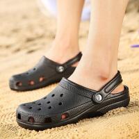洞洞鞋男耐穿半拖室外软底海边沙滩鞋夏天拖鞋休闲包头半拖凉鞋男夏季百搭鞋