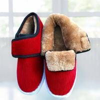 冬季黑色手工保暖棉鞋加绒加厚男女中老年居家牛筋底底布棉鞋