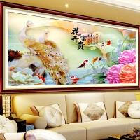 大幅玉雕花开富贵满钻十字绣客厅装饰画新款钻石画古典孔雀牡丹图