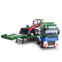凯迪威全合金工程系列平板拖车带推土车组合滑行模型收藏摆饰玩具