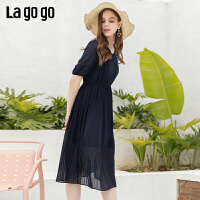 Lagogo2019夏季新款娃娃领高腰百褶连衣裙女雪纺A字裙IALL334F40