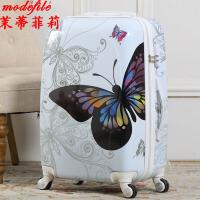 【满200减100】茉蒂菲莉 拉杆箱 女士20寸万向轮行李新款蝴蝶纹旅行时尚潮女式登机航空成人箱子