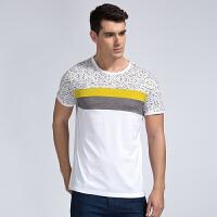才子男装(TRIES)短t 男士2017年新款时尚几何拼接舒适百搭休闲短袖T恤