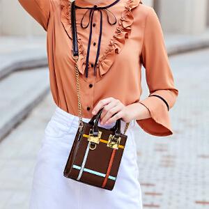 toutou2017新款迷你包包女个性韩版撞色手提小方包单肩斜挎链条包