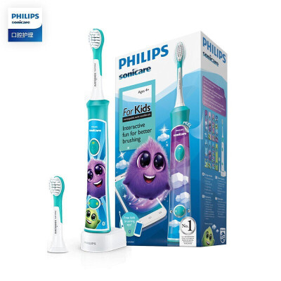 飞利浦(PHILIPS)电动牙刷 蓝牙版 儿童声波震动(自带刷头*2) HX6322/04