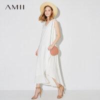 【AMII 超级品牌日】Amii[极简主义]2017夏装新款大码无袖休闲V领层叠连衣裙11792568