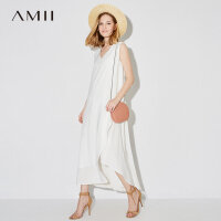 Amii[极简主义]2017夏装新款大码无袖休闲V领层叠连衣裙11792568