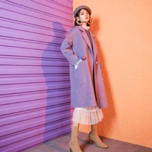 赫本风毛呢大衣女中长款秋冬季新款2018流行加厚羊毛双面呢子外套