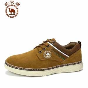 骆驼牌休闲伐木鞋二层反绒牛皮系带厚底鞋 轻便休闲皮鞋时尚
