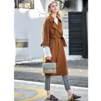 【开学季 预估券后价:1177元】Amii极简英伦风100%羊毛双面呢大衣法式冬新款翻领腰带长款外套女