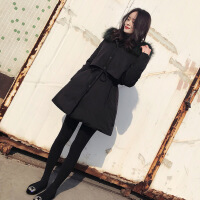 bf女冬季学生韩版加厚棉袄2018新款中长款宽松大毛领棉衣外套 黑色