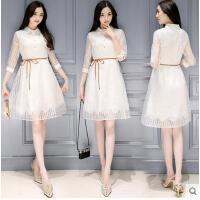 欧洲站衬衫裙气质蕾丝连衣裙新款韩版女装欧根纱蓬蓬裙可礼品卡支付