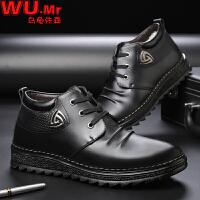 乌龟先森 皮鞋 男士冬季新款加绒休闲高帮保暖棉鞋子男式系带防滑舒适男鞋