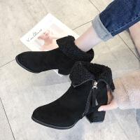 两穿短靴女秋冬2019新款小跟粗跟韩版百搭矮靴子女踝鞋加绒马丁靴 黑色加棉