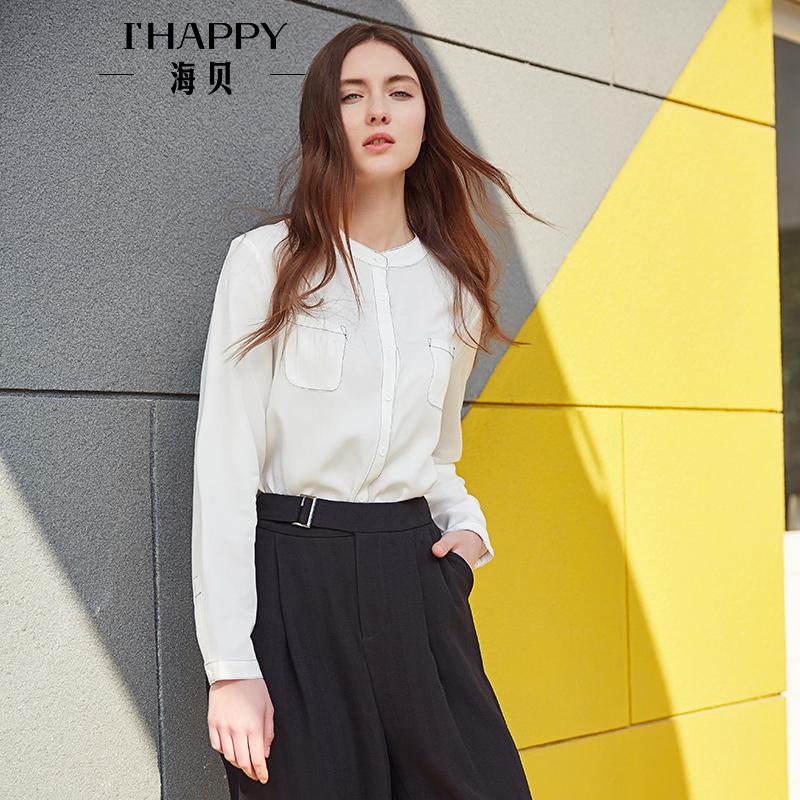 【街拍】海贝2017年秋季新款女装白衬衫 文艺立领简约百搭休闲长袖小衫