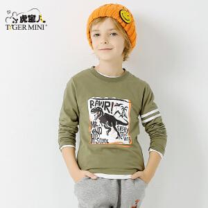 小虎宝儿恐龙童装男童长袖T恤2018春装新款中大童纯棉休闲打底衫