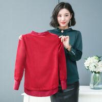 加绒不加绒衬衫女长袖2019秋装女重磅仿韩版加厚打底衬衣 S 90-100斤可穿