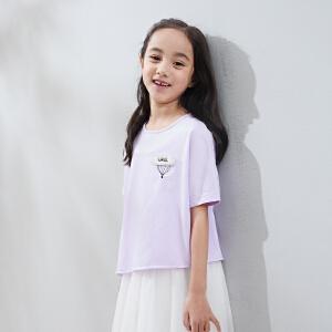 【下单立享5折】amii童装2017夏装新款女童纯色不规则T恤中大童立体刺绣开叉上衣