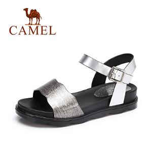 camel骆驼女鞋 夏季新款 清凉防滑百搭凉鞋 闪亮质感休闲女凉鞋