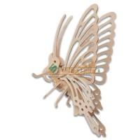 四联玩具木质动物拼图3D立体亲子益智玩具手工DIY模型小蝴蝶