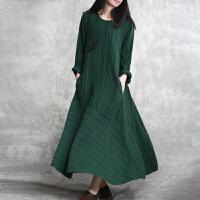 原创2018春款亚麻连衣裙修身显瘦拼接条纹肌理纯色大摆宽松长裙子GH05 墨绿色 均码