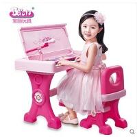 维莱 宝丽儿童书桌电子琴带麦克风多功能钢琴女孩早教益智音乐玩具 粉色