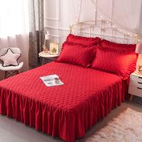 纯色加棉床裙单件加厚床垫席梦思保护套夹棉床罩 2.0X2.2夹棉裙 夹棉枕套一对