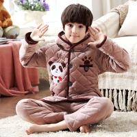 冬季珊瑚绒夹棉大童家居服小孩套装