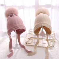 秋冬韩版新款儿童针织毛线女童套头帽男童宝宝保暖帽子狐狸毛球潮