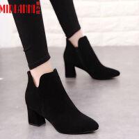 2019秋冬新款韩版短靴女靴子中跟尖头靴粗跟踝靴切尔西靴马丁靴女 黑色