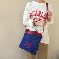 韩国网红小清新软妹学生帆布包百搭创意手提两用单肩斜挎包包男女