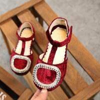 2018春夏新品4-6岁儿童单鞋 女童绒面包趾凉鞋 韩版儿童鞋