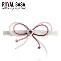 皇家莎莎RoyalSaSa蝴蝶结发夹韩国水钻盘发头饰品弹簧夹韩式发卡中号顶夹发饰