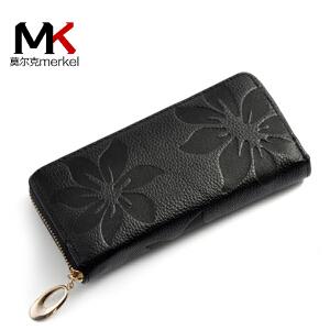 莫尔克(MERKEL)新款头层牛皮女士钱包长款手包女式手机钱包真皮女手抓包韩版休闲印花女款