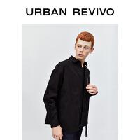 UR2020冬季新品男装休闲衬衣领拼接款式开襟合身衬衫MV48S2BN2001