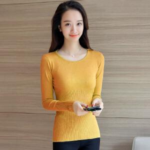 �莱2017春季新款韩版修身中长款针织套头薄款圆领长袖打底衫