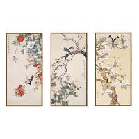 现代中式装饰画花鸟国画客厅沙发背景墙挂画书房走廊过道竖版壁画 75*150 黑色外框 单幅价格