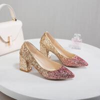 大东同款同款高跟鞋女粗跟中跟婚鞋女春款白色婚纱配的结婚单鞋水晶鞋