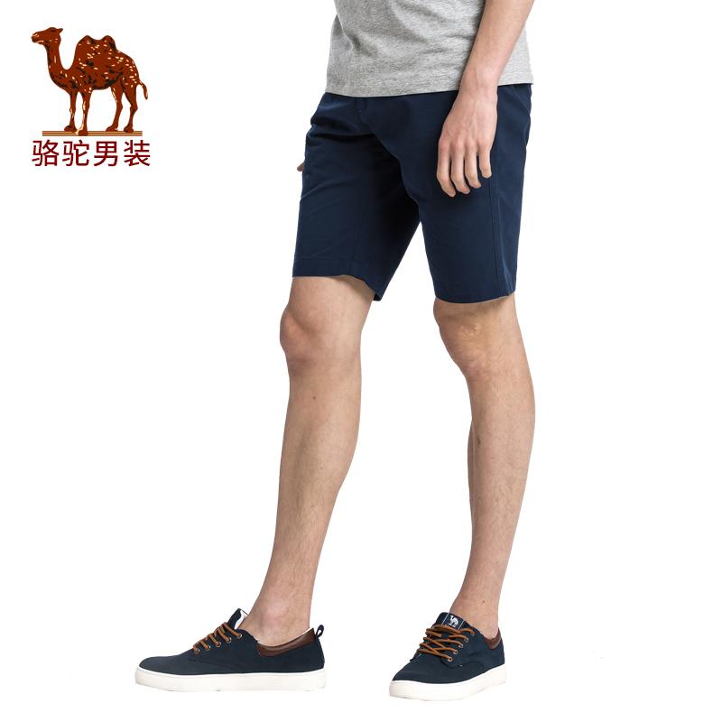骆驼男装 夏季新款无弹纯棉中腰修身休闲五分裤休闲短裤