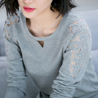 2018秋装新款韩版胖mm上衣大码棉圆领蕾丝袖长袖t恤女装打底衫NRC303-1831