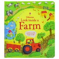 【首页抢券300-100】Usborne Look Inside Farm 看里面之农场篇 儿童百科英语翻翻书 英文原版