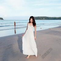 夏连衣裙波西米亚沙滩裙白色长裙海边度假露背女神吊带裙 白色(交叉背带)